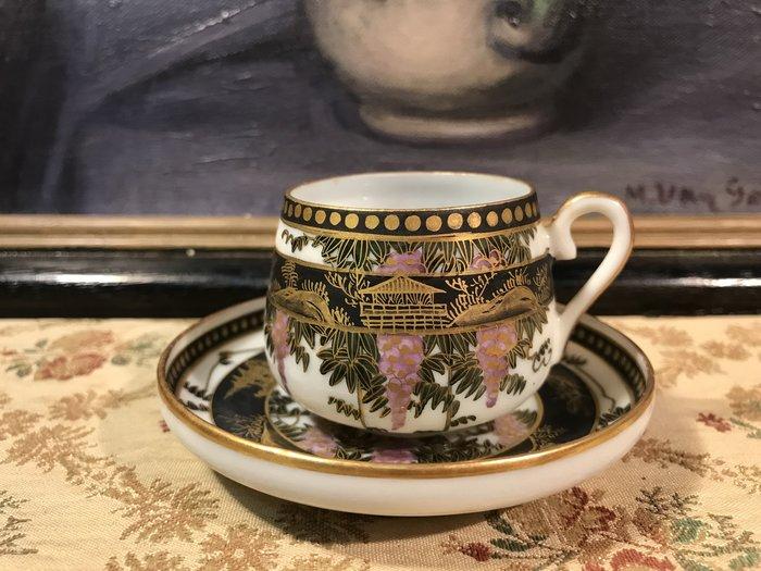 歐洲古物時尚雜貨 日本 描金小杯盤組 花葉 樹 屋圖騰 擺飾品 古董收藏  1組2件