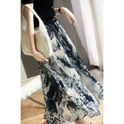 XG 手工描繪印花 精緻好穿靈動不挑人 長裙 印花裙 百摺裙