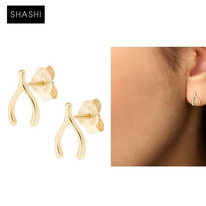 SHASHI 台北ShopSmart直營店 紐約品牌 Wishbone 幸運許願骨耳環 925純銀鑲18K金