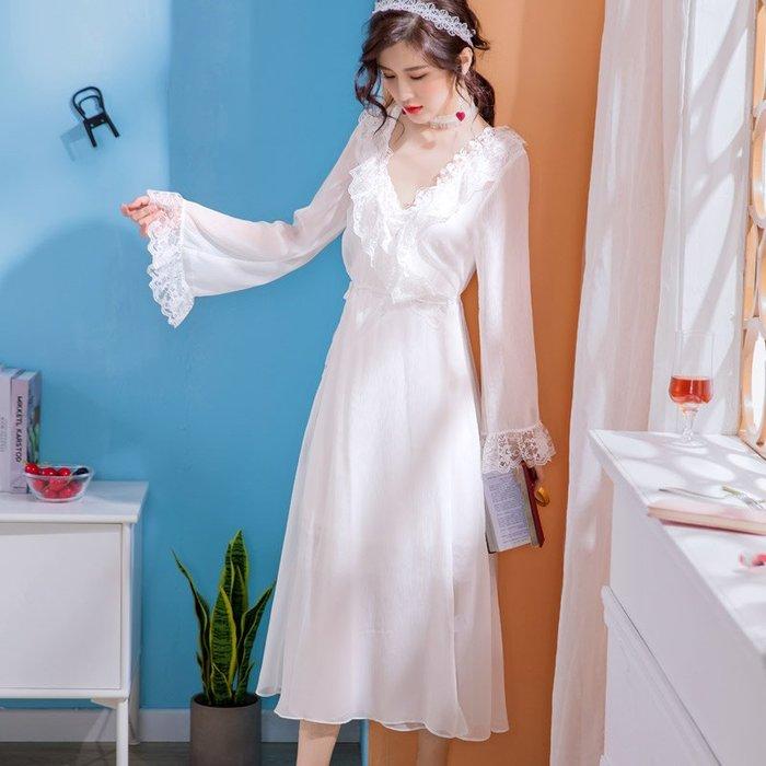 公主風睡裙夏季薄款V領吊帶性感冰絲甜美蕾絲睡衣女兩件套-青木居家