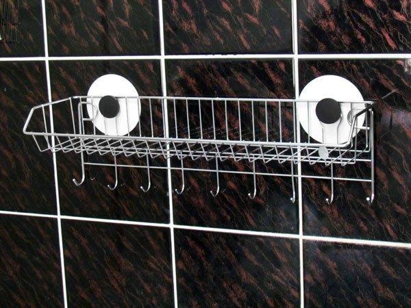 『嶄新、可靠、超黏性怪力貼』免鑽孔不鏽鋼置物架寬版附勾※主動式強力黏著性※,可拆卸換位重複使用。廚房萬用架掛勾,調味料架