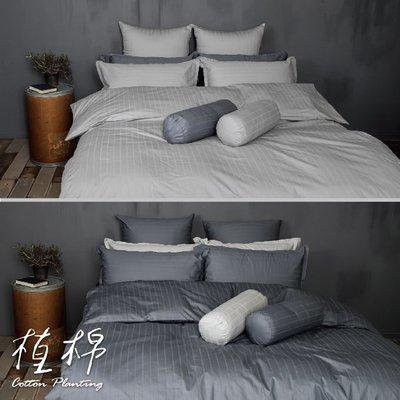 《50支紗》雙人加大床包/兩用被套/枕套/4件式【共2色】植棉-淺灰、深灰 100%精梳棉-麗塔寢飾-