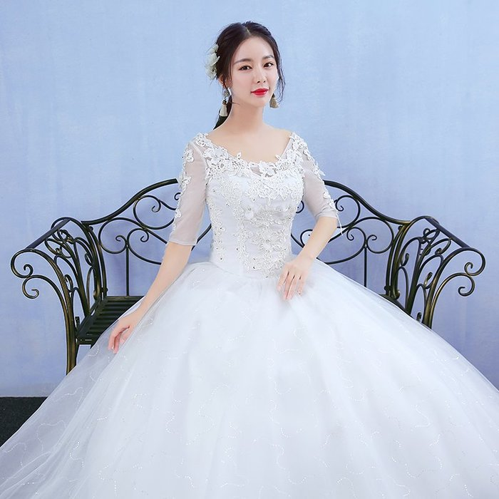 FEI日韓代購~一字肩婚紗禮服2019新款新娘結婚韓式公主齊地大碼長袖顯瘦蓬蓬裙