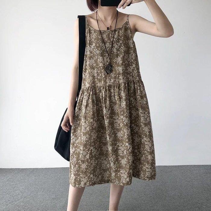 Black Market 文藝寬鬆內搭中長款顯瘦無袖打底裙棉麻細肩帶碎花洋裝(預購)D147