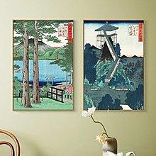 日料居酒屋餐廳酒店日式裝飾畫現代客廳壁畫複古掛畫江戶百景(兩款可選)