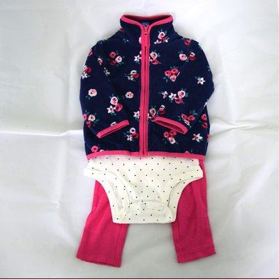 【現貨】美國Carter's 舒適碎花圓點點套裝三件組(外套+包屁衣+長褲) 12M 適合當彌月禮 台北市
