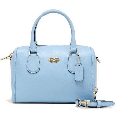 COACH 手提包/斜背包100%保證正品附發票防刮小波士頓包淺藍聖誕節禮物