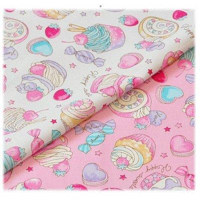 日本 牛津布 甜蜜蜜 草莓蛋糕 甜點時間 半碼45x110cm=158元