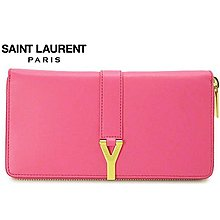 Saint Laurent Paris YSL( 粉紅色×金色金屬 ) 拉鍊真皮長夾 皮夾 錢包|100%全新正品|特價!