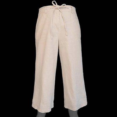 英國品牌atmosphere淺咖啡色純亞麻繫帶寬管7分休閒褲 10號 P01