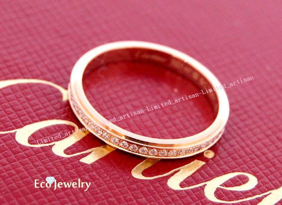 《Eco-jewelry》【Cartier】 卡地亞 窄版玫瑰金全鑽戒指 ~專櫃真品 近新品
