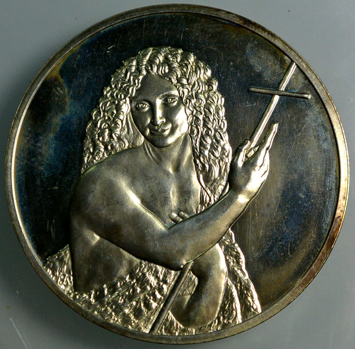 法國 1976年 名畫 紀念銀章 施洗者聖約翰
