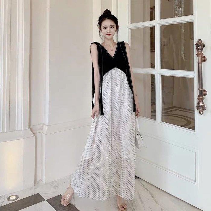 韓版氣質修身顯瘦波點假兩件連身裙洋裝長裙