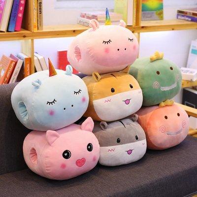 可愛卡通粉小豬獨角獸恐龍動物毛絨暖手抱枕插手午睡覺靠墊暖手捂