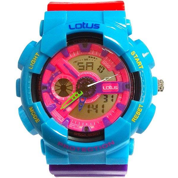 Lotus 街頭樂高撞色變形金剛 計時鬧鈴雙顯運動錶(LS-1026-06)-/52mm