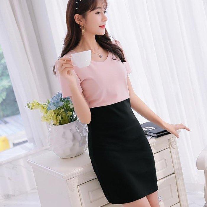 2018夏新款大碼韓版短袖百搭連衣裙女時尚顯瘦拼接打底裙涼感洋裝