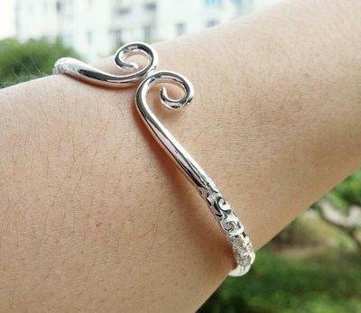 嗨,寶貝銀飾珠寶* 925純銀☆999純銀 藝術 緊箍(愛妳五百年) 祥雲圖騰實心 開口純銀手環 手鐲