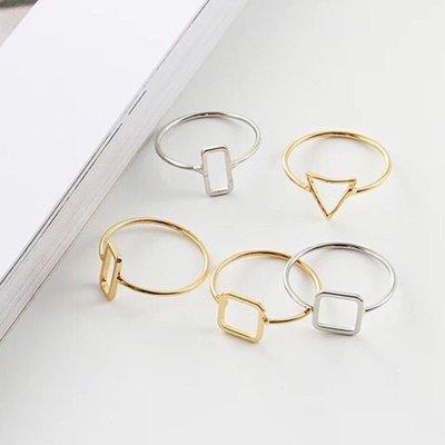 ↪現貨↩ 💕  💍極簡主義設計感 簡約歐美風幾何形三角方塊金色混搭戒指  食指指環女