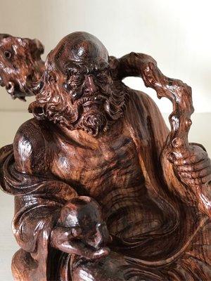 【御藏堂】現貨海南黃花梨 佛像雕刻 達摩禪師 千年老料全紫油梨 紋理清晰 降香黃檀 清刀雕刻 傳統工藝 璞質無上漆 信用卡可分期
