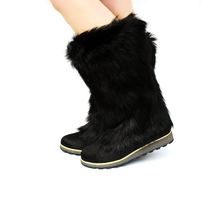 香港代購  戶外羊毛女靴 雪地靴 保暖高筒靴 雪靴 低跟皮草靴 冬季馬毛雪地鞋 冬鞋顯瘦百搭女鞋 出口歐美