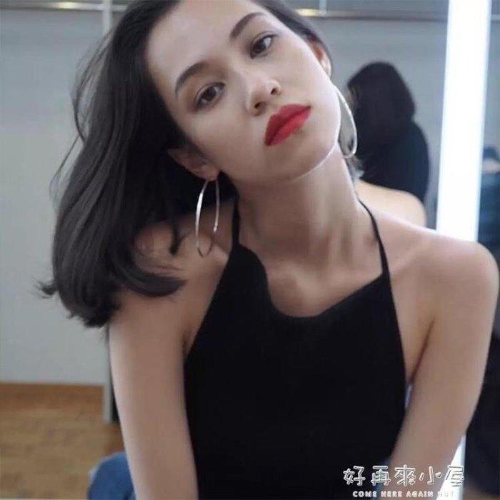 《全館免運》s925銀針大圈圈耳環女圓形耳圈韓國個性簡約 【FOLLOW ME】