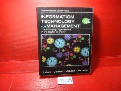 【愛悅二手書坊 05-08】Information Technology for Management(內附光碟)