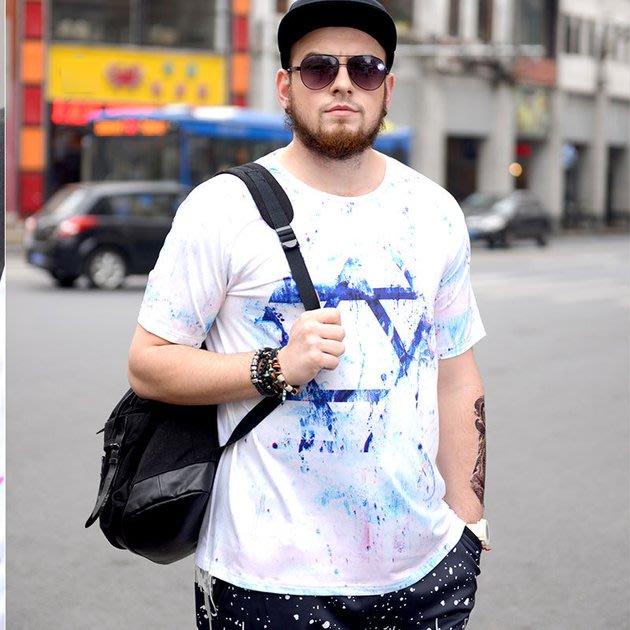 FINDSENSE品牌監製 大尺碼男裝 加肥加大碼冰絲男裝超大碼薄款個性印花短袖夏季男大尺碼寬鬆透氣T恤速乾排汗T