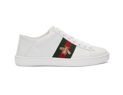 [全新真品代購] GUCCI 刺繡蜜蜂 白色皮革 休閒鞋 / 穆勒鞋