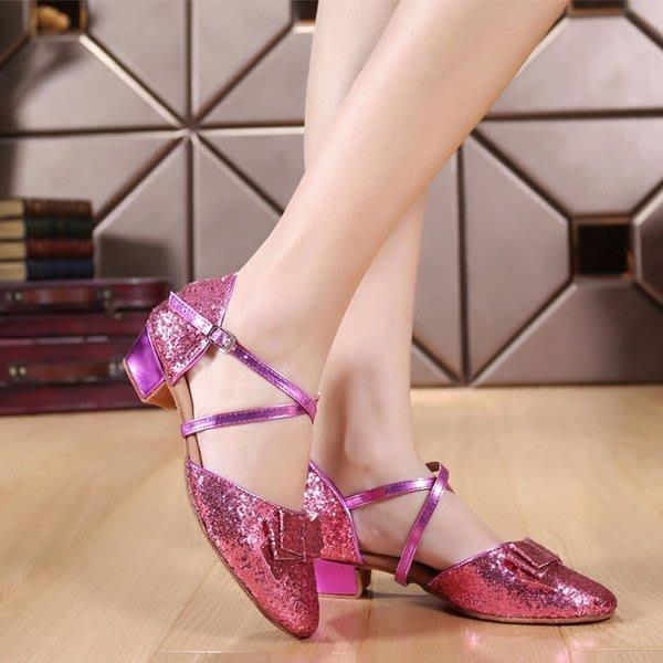 5Cgo【鴿樓】會員有優惠 27591044841 兒童拉丁舞鞋女少兒中跟舞蹈鞋軟底 包頭女童跳舞鞋練功鞋