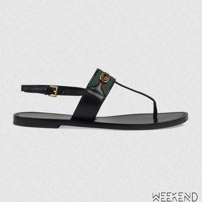 【WEEKEND】 GUCCI 皮革 織帶 平底 夾腳 涼鞋 黑色 624308