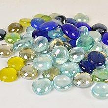 爆款熱賣-魚缸裝飾玻璃球彈珠水培植物水族箱玻璃珠彩色圓珠扁珠500g*3袋