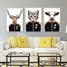 北歐動物森林將軍裝飾畫畫芯飯廳背景牆掛畫橫幅臥室床頭(12款可選)
