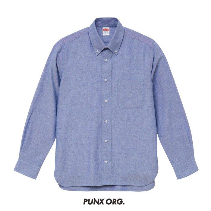 【 PUNX 】UNITED ATHLE UA  SHIRT 牛津扣領長袖襯衫 白色/藍色
