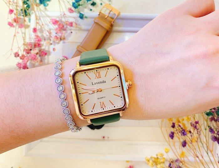 韓國❤️ Lavenda 復古 時尚 方形 皮質 造型錶 手錶【Verina's韓系美飾】