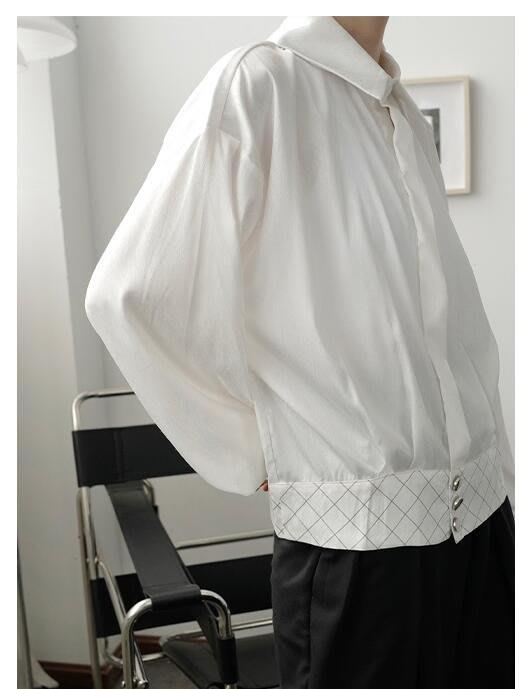 FINDSENSE X  男士 長袖寬松 休閑 極簡設計短款輕熟風垂墜質感長袖襯衫