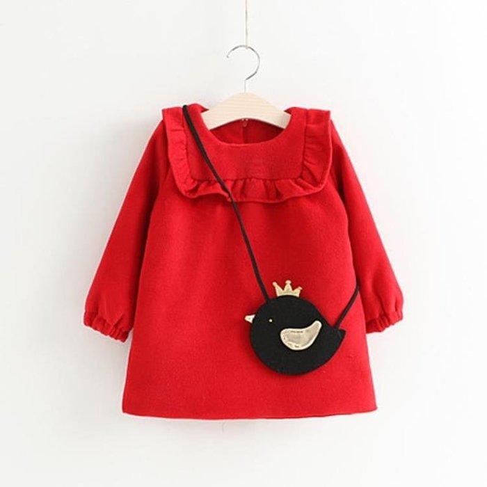 ❤厤庭童裝舖❤最後一件【E466】大紅色花邊小雞造型背包A字上衣(15號)