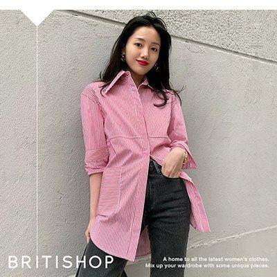 BRITISHOP= 法式 寬鬆 紅白 條紋 大口袋 翻領 長袖 襯衫 ARKET最愛 特價1690