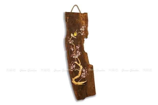 曉梅 文創木雕掛畫【大綠地家具】香樟木實木/彩繪藝品/含吊掛麻繩