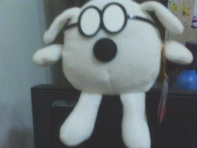 全新可放電腦螢幕上可愛眼鏡狗玩偶(讓你上班打電腦不無聊每天看到它都開開心[)