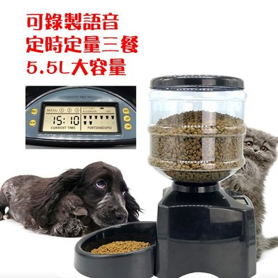「歐拉亞」現貨 寵物 自動餵食器 5.5L大容量 定時定量 免接電源 寵物餵食器