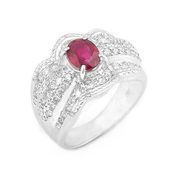 【JHT 金宏總珠寶/GIA鑽石專賣】1.12ct天然紅寶鑽戒/材質:18K(R00020)