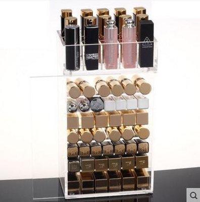 【優上】透明亞克力化妝品收納盒 口紅小樣唇彩唇釉睫毛膏彩妝桌面「兩件套帶門」
