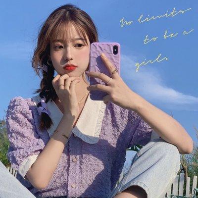 襯衫女2020夏季新款洋氣泡泡袖短款法式上衣修身短袖百搭紫色襯衣