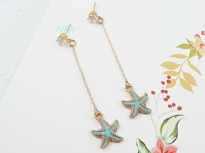 【N&Y】彩色海星鋯石流蘇垂墜耳環鋯石耳針耳釘☆EB90共2色可選擇