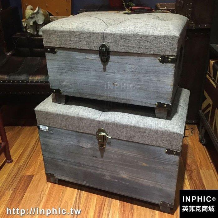 INPHIC-復古二件套帶亞麻墊子收納儲物凳換鞋凳做舊整理實木箱子熱銷_S2787C