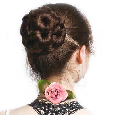 抓夾花苞頭假髮丸子頭髮夾九朵花逼真假髮包盤爪夾式髮包盤髮器