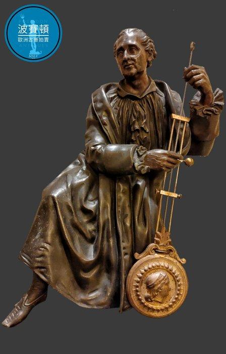 【波賽頓-歐洲古董拍賣】歐洲/西洋古董 法國古董 19世紀老青銅鐘擺銅雕(尺寸:高36X寬25X深20cm,重7kg)(年份:1900年)(落款:DORIAN)