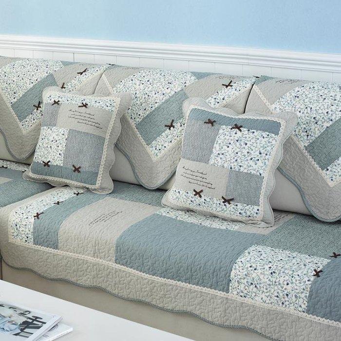 沙發墊布藝全棉防滑沙發坐墊夏季田園純棉四季通用簡約沙發巾套罩