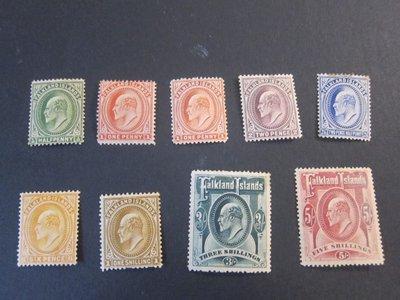 【雲品】福克蘭群島Falkland Islands 1904 KEVII Sc 22-29+23a MH 庫號#BF502 65616