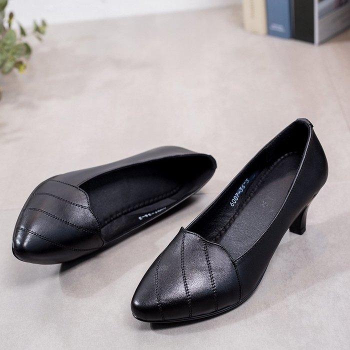 【潮流時尚】高跟鞋熱賣超便宜真皮工作鞋女細跟媽媽鞋高跟防滑淺口正裝女單鞋優質好貨職業